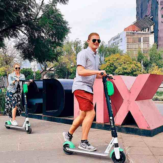 Riding Lime Bike scooters through CDMX, one of the top things to do in Mexico City