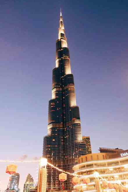 Burj Khalifa at night, one of the top things to do in Dubai.