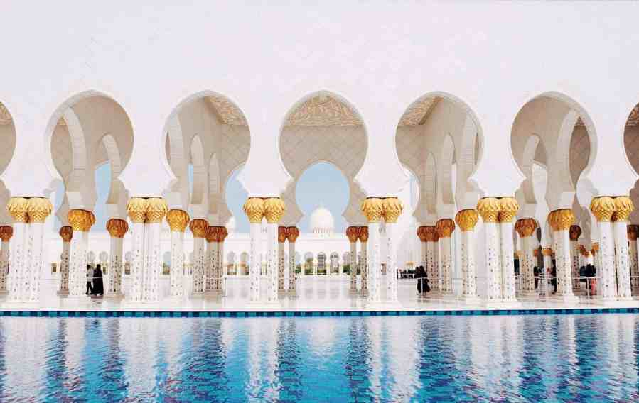 Beautiful details of Sheikh Zayed Grand Mosque, one of the top things to do in Dubai.
