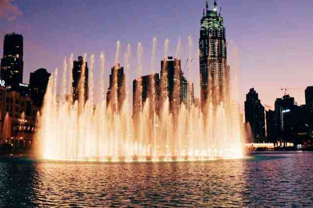 Dubai fountains, one of the top things to do in Dubai.