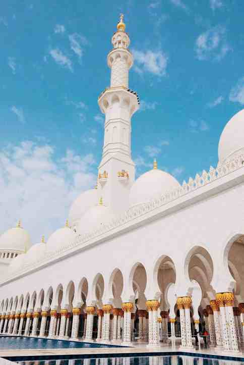 Outside Sheikh Zayed Grand Mosque, one of the top things to do in Dubai.