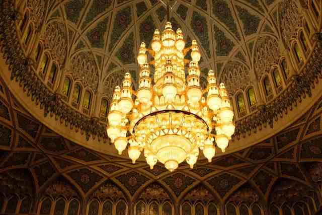 Chandelier in Sultan Qaboos Grand Mosque, one of the top things to do in Oman.