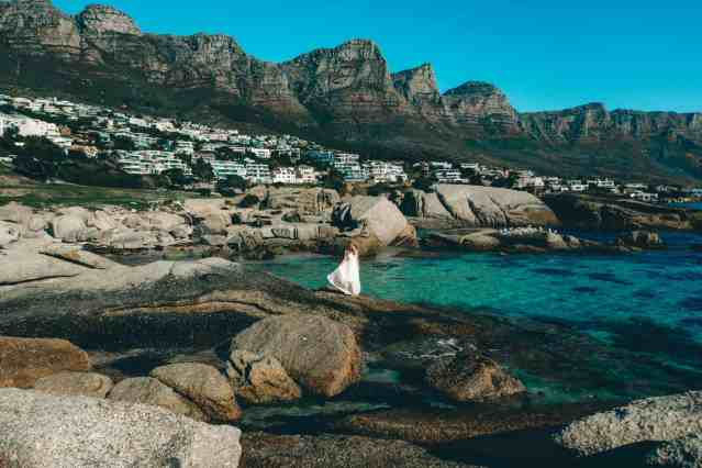 Dancing on the rocks in Camps Bay with a view of the 12 apostles