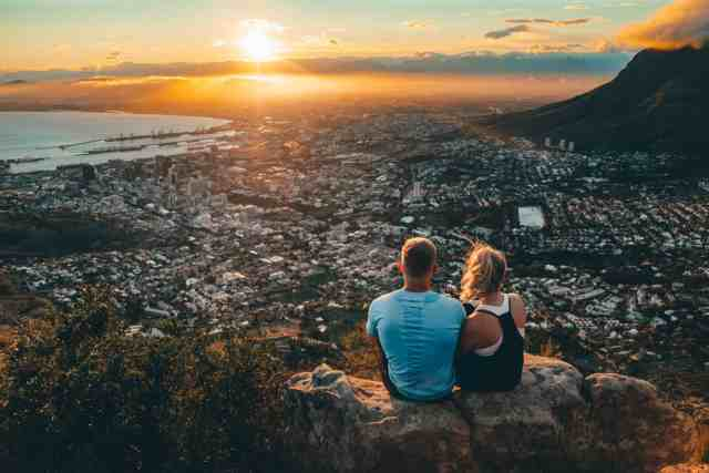 Sunrise over Cape Town from Lion's Head Hike, one of the top things to do in Cape Town