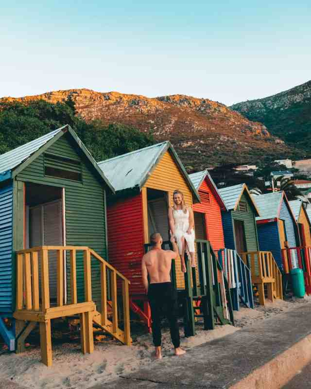 St. James Beach with colorful huts, one of the top things to do in Cape Town