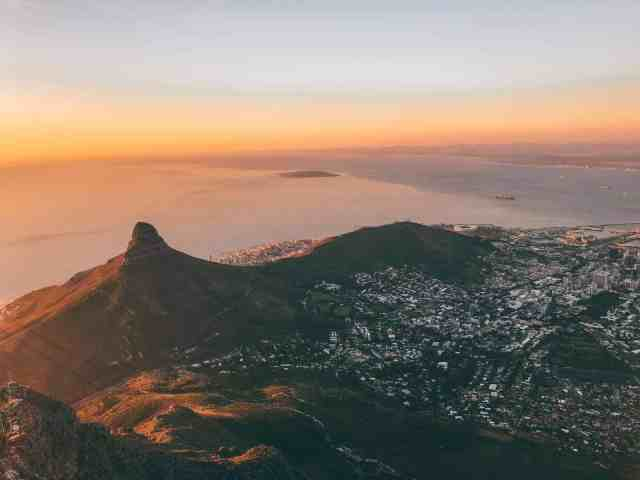 View of Lions Head from Table Mountain, one of the top things to do in Cape Town