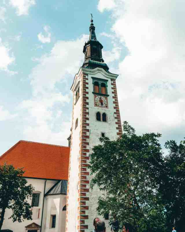 The clock tower on Bled Island