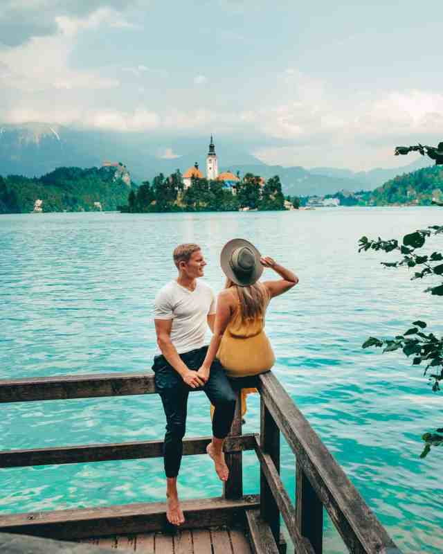 On the dock overlooking Bled Island