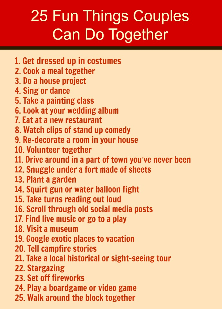 25 Fun Things You Can Do With Your Spouse  Love Hope