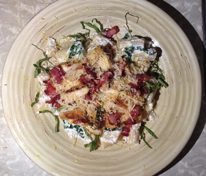 Day 21 – Rigatoni with Chicken, Bacon, Spinach, and Ricotta