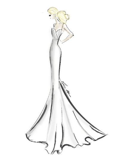 Designer Dress Sketches for Jennifer Aniston's Wedding Day