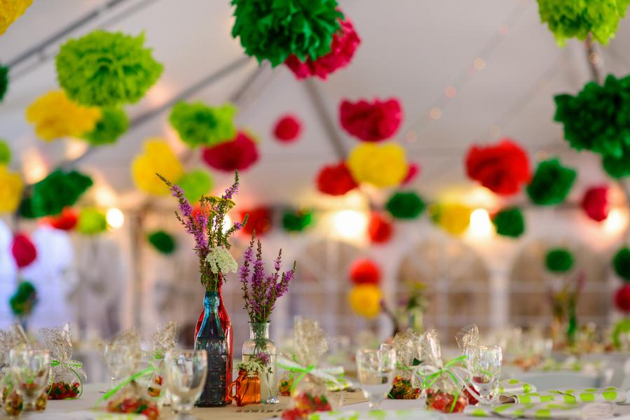 colorful-wedding-decor-pom-poms