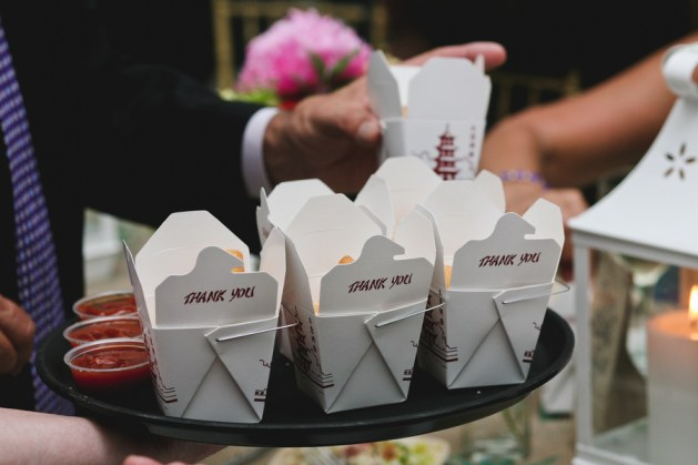 Fried Mash Potatoes Served in Chinese Takeout Containers   Amy and Erin Wedding   Brett Alison Photography