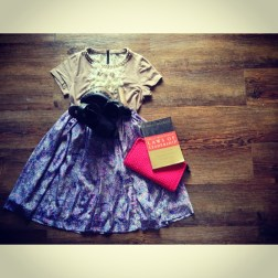 Forever 21 pearl/crystal studed neck nude t-shirt, thrifted purple print skirt, rajo laurel pouch, Maxwell's book, the shoes