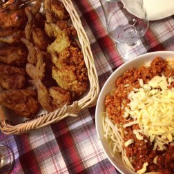 our chicken wings and pasta dinner in celebration of Father's day