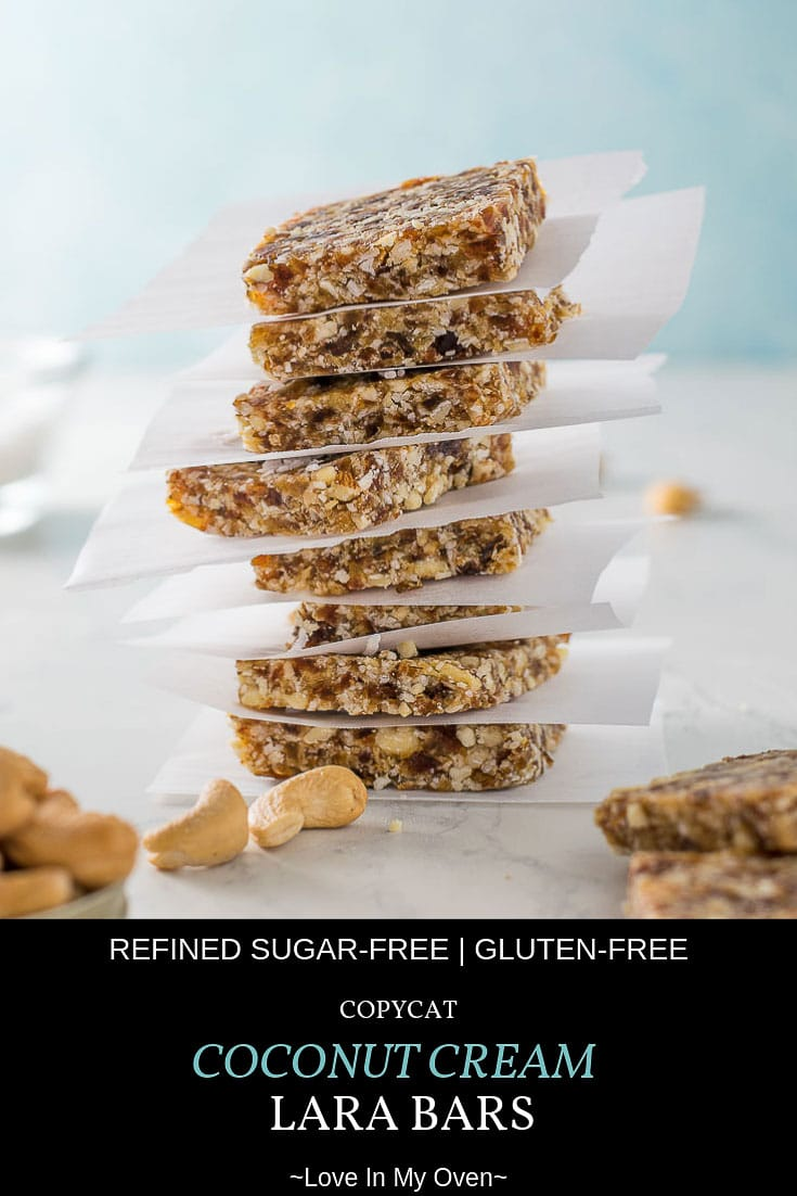A copycat Larabar recipe that can double as a healthy snack or treat for your wee ones. Great for on the go! No-bake, gluten-free and refined sugar-free! #copycatrecipes #nobake #snacks #larabars #coconutcream