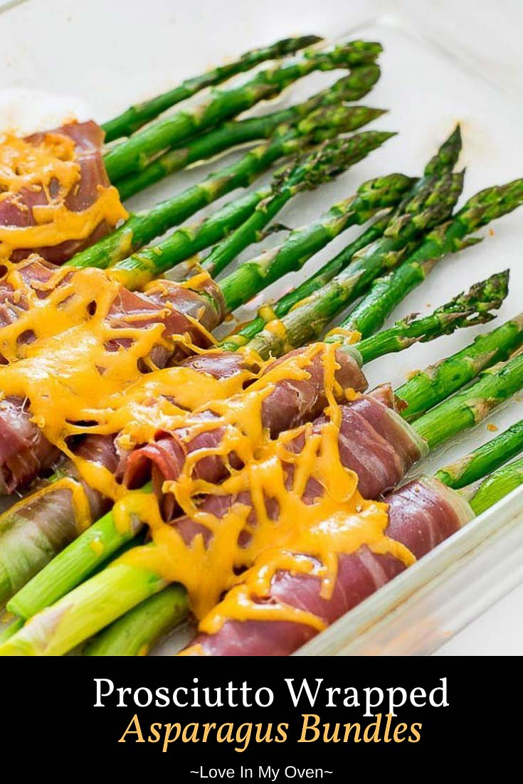 The EASIEST side dish for a BBQ or holiday gathering, these prosciutto wrapped asparagus bundles have it all. Roasted asparagus, crispy prosciutto and smothered in cheese! // prosciutto wrapped asparagus // asparagus with prosciutto and cheese // roasted prosciutto wrapped asparagus