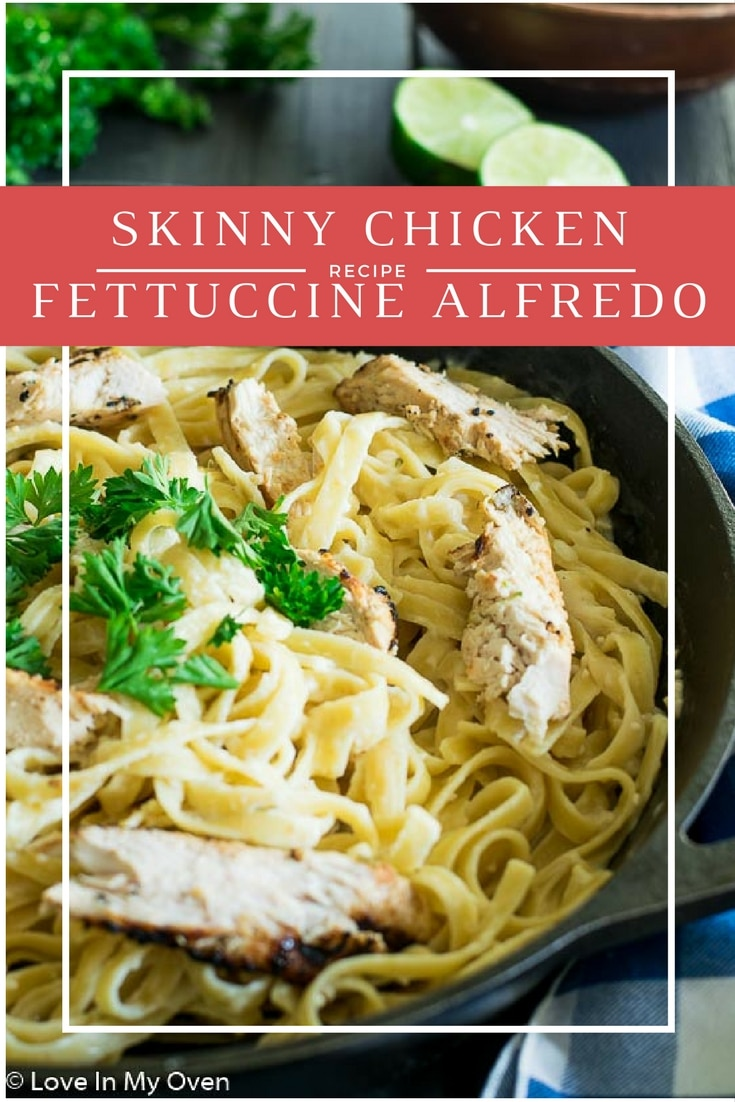 A lighter take on a classic dish. Freshly grilled chicken with a hint of lime and garlic atop a bed of creamy fettuccine noodles - you'd never guess it's skinny!