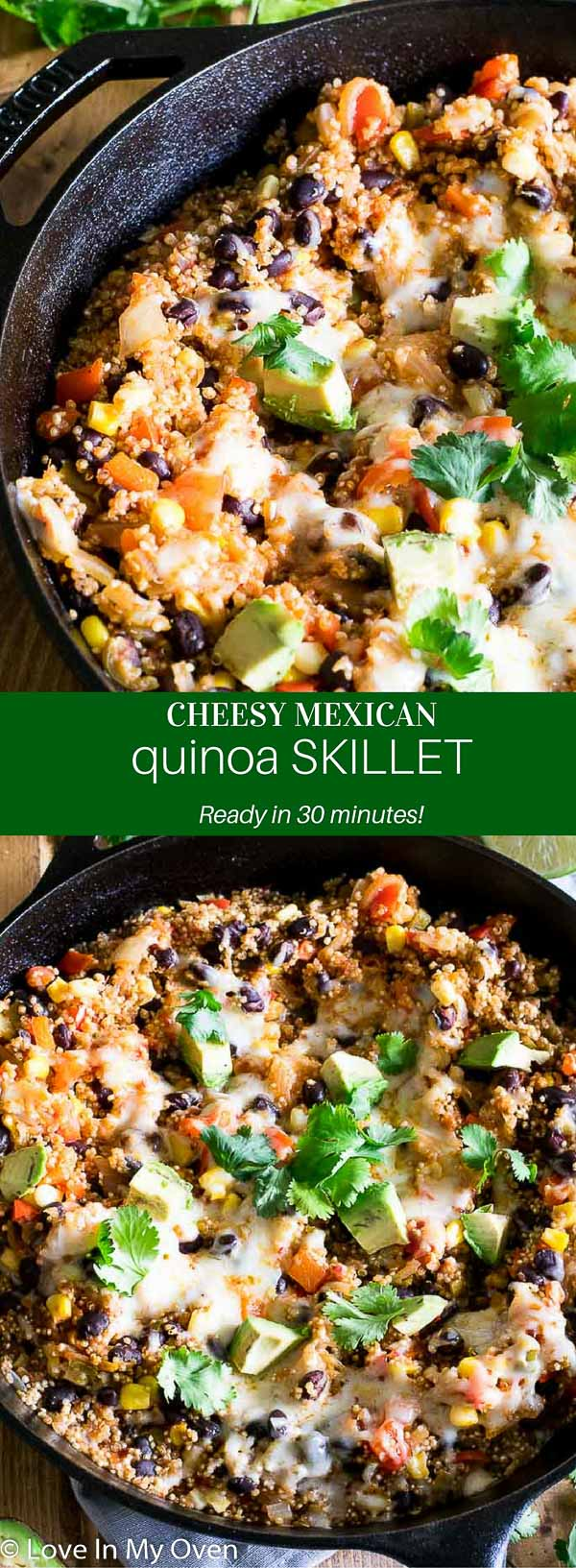 A hearty, healthy vegetarian Mexican dish that's prepared all in one pan and ready in 30 minutes!