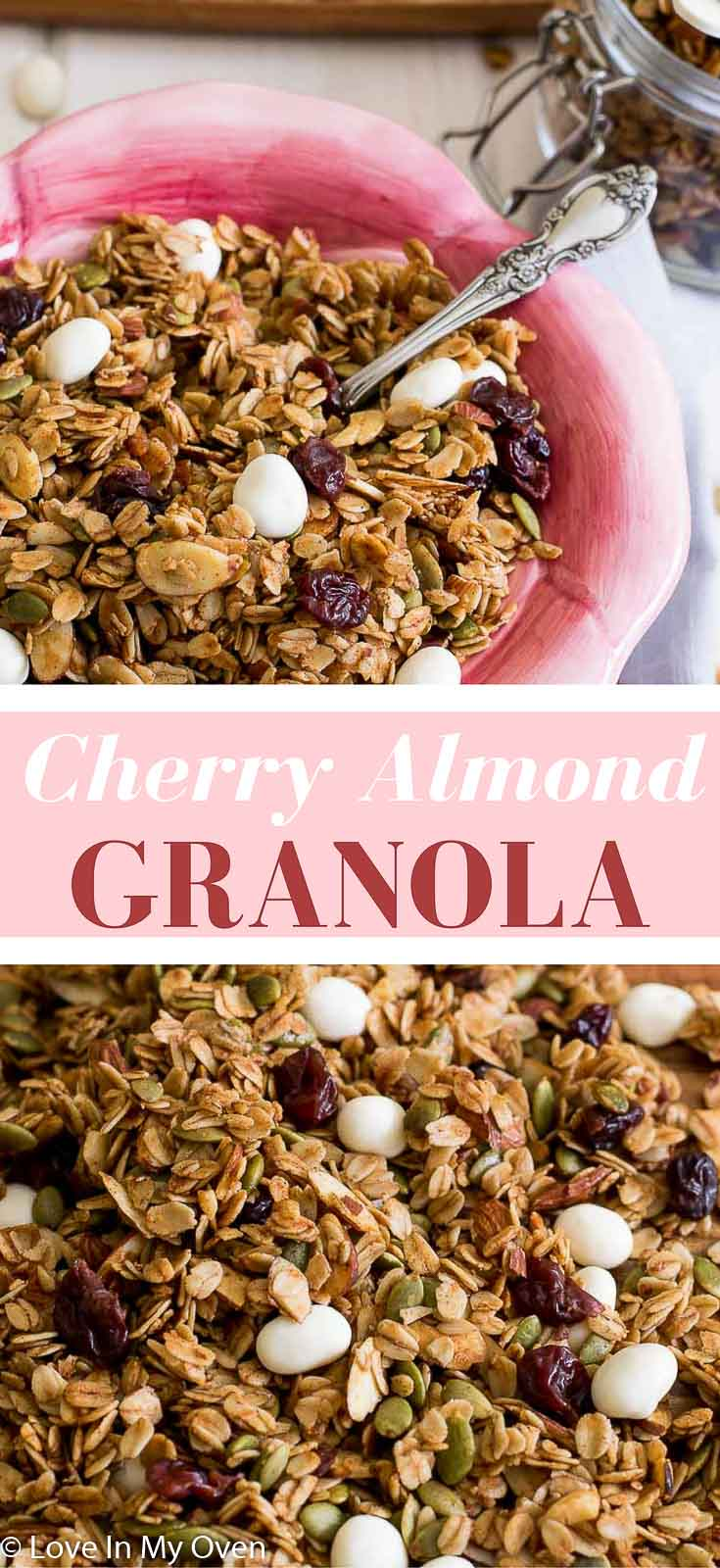 A light and crunchy almond flavored granola mixed with dried cherries and yogurt covered raisins. Ready in an hour!
