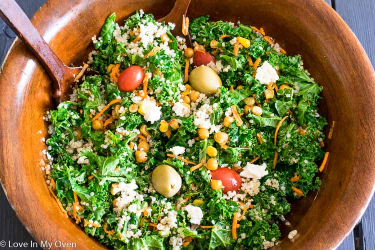 Roasted Corn and Chickpea Kale Salad