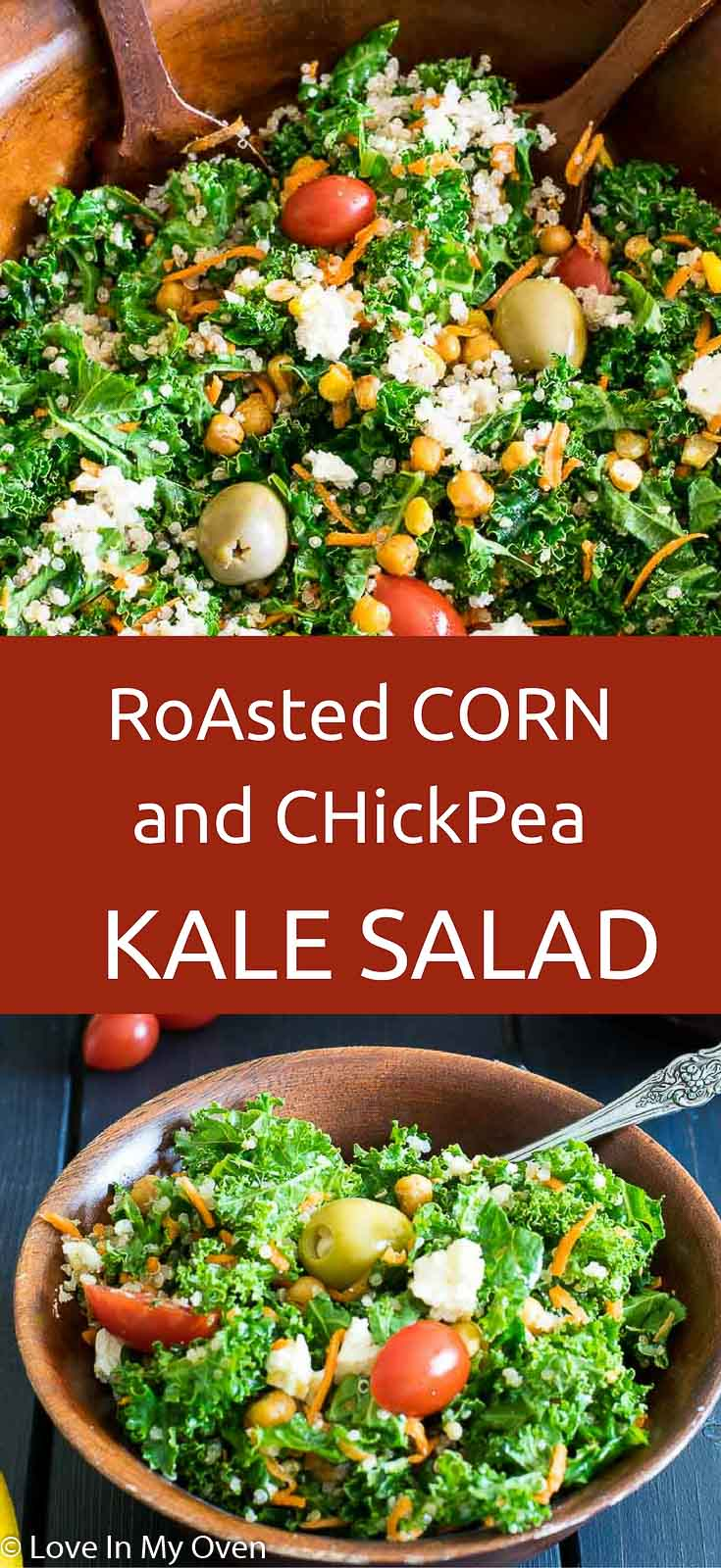 Roasted corn and chickpeas tossed into fresh kale and lightly coated in a maple-lemon vinaigrette.
