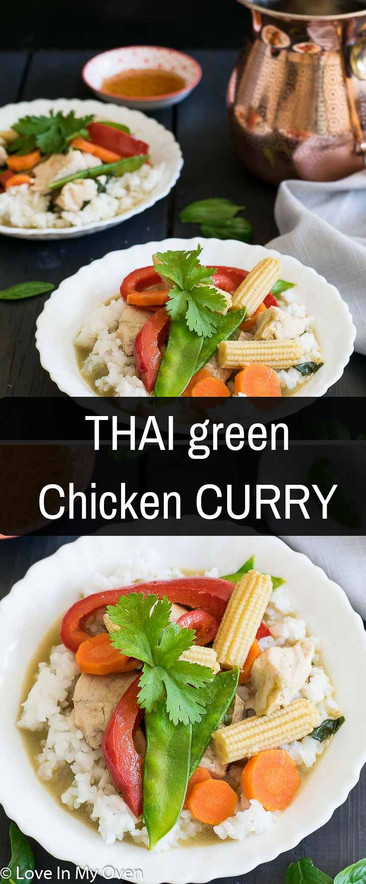 Classic Thai green curry flavors with a hint of sweet basil and served with fresh vegetables and chicken.
