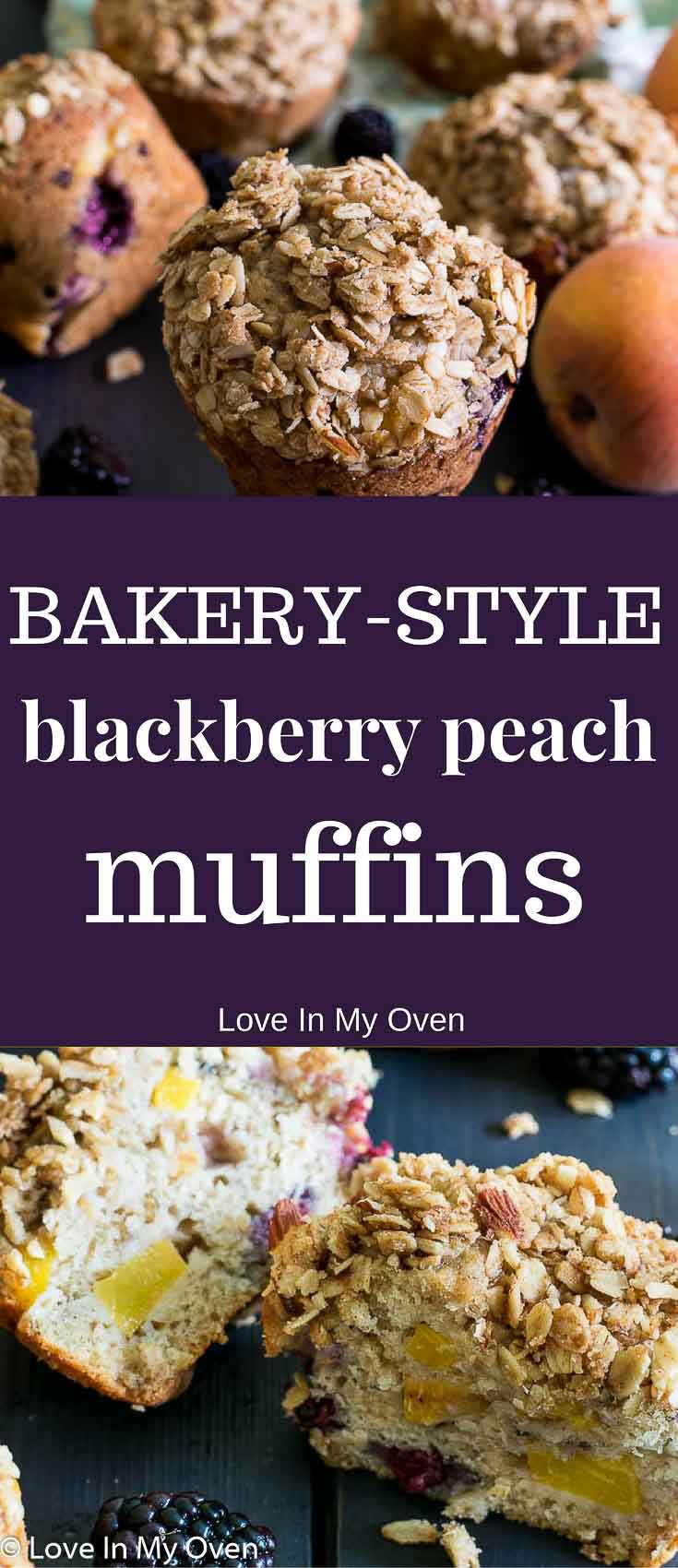 Moist and tender jumbo muffins with a buttery, crunchy streusel topping and studded with chunks of juicy summer fruit!