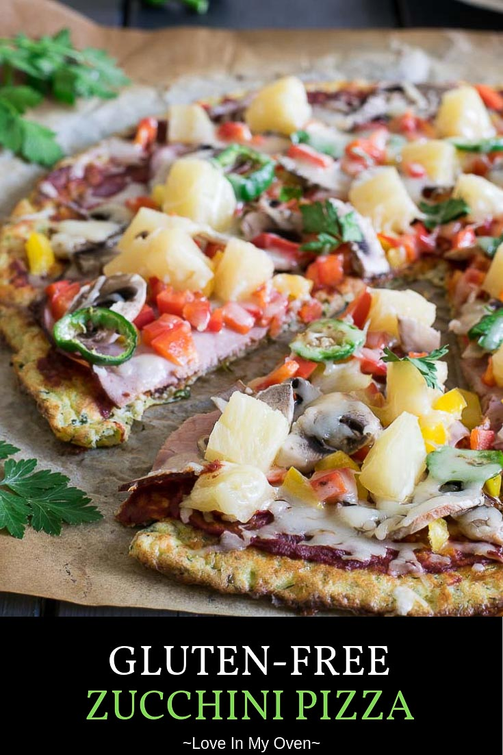 Even the most fierce of zucchini-haters will love this gluten-free zucchini pizza with it\'s light and chewy texture and mild flavour. This zucchini pizza crust is perfect for all of your favorite toppings! // zucchini pizza crust // vegetable pizza crust // flourless pizza crust recipe