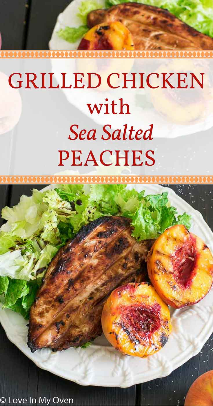 Sweet, juicy peaches marinated with ginger and lime, dusted with sea salt and paired with a grilled chicken breast. An amazing summer dinner!