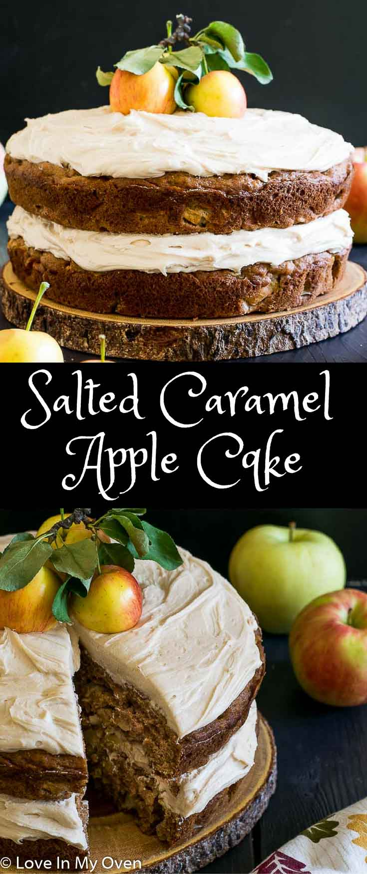 Treat your guests to this lightly spiced double layer cake with chunks of juicy apple and mounds of salted caramel buttercream - your next favourite fall dessert!