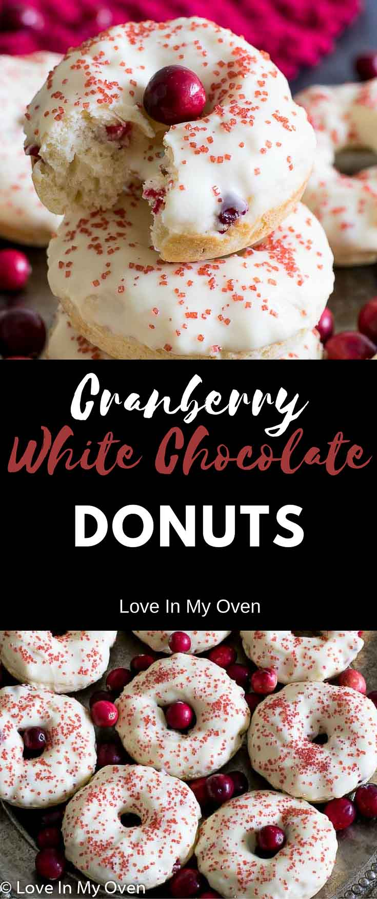 cranberry, white chocolate, baked donuts, baked, donuts, cake, Christmas, Christmas baking, breakfast