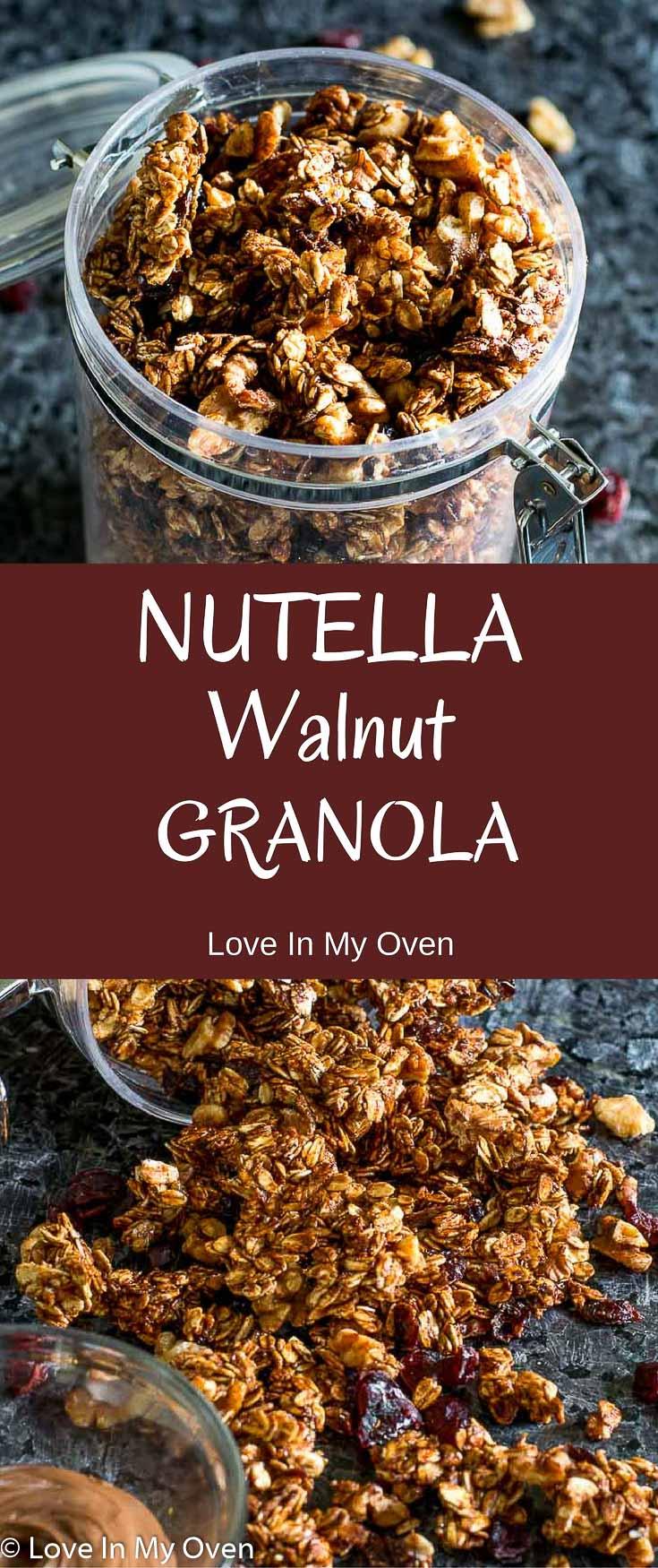 Chocolatey, nutty, crunchy granola. Breakfast, dessert, or a late-night snack!