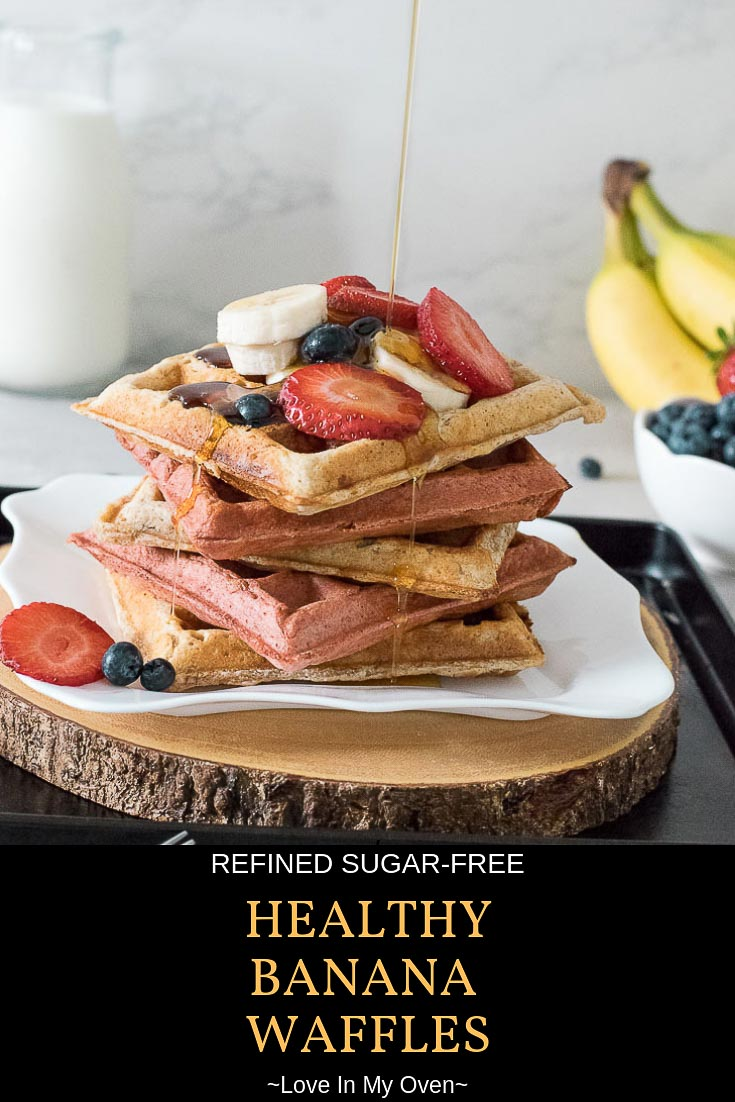 Sweetened with banana, these healthy banana waffles will become your new favourite breakfast! Whole wheat banana waffles that make a healthy breakfast for baby, and the rest of the family. // healthy banana waffles // whole wheat banana waffles // healthy breakfast for baby