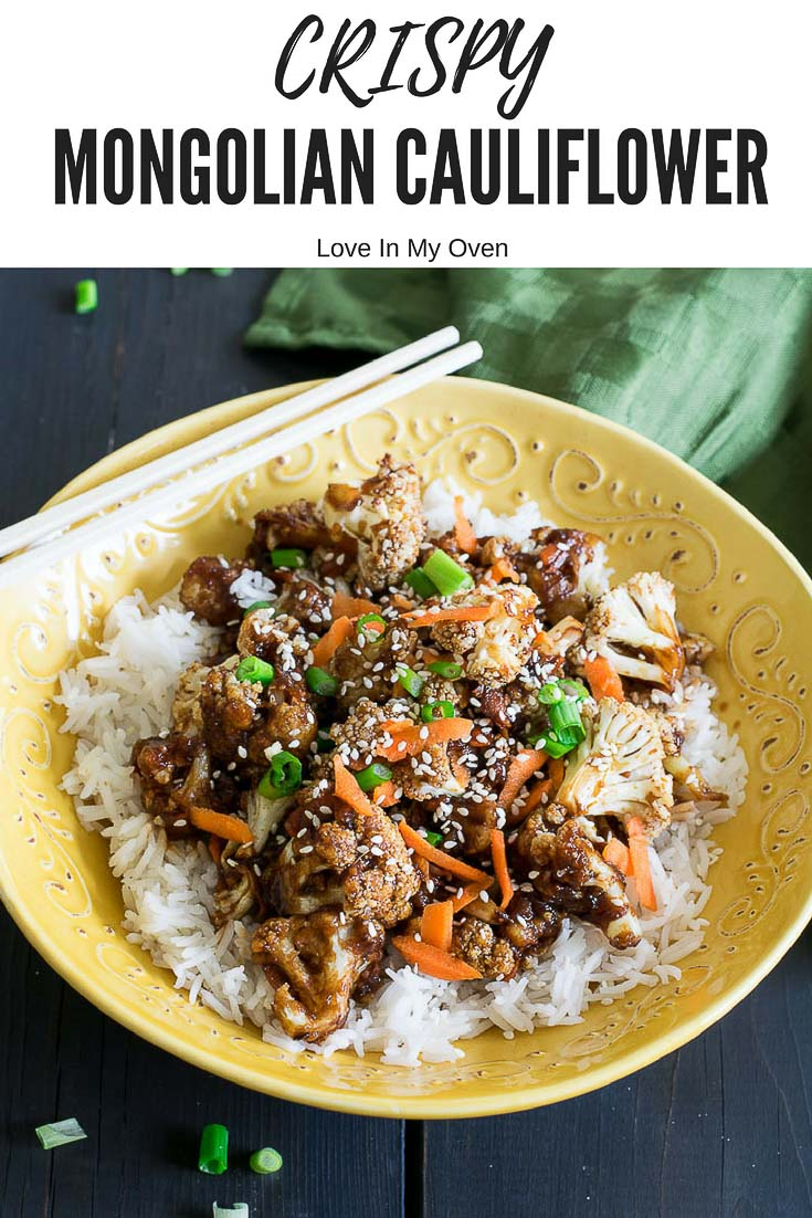 You won\'t miss the meat when you crisp up some cauliflower instead and smother it in a sweet and sticky Mongolian sauce! Serve it over rice for a delicious and quick 30-minute dinner!