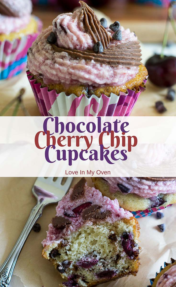 Enjoy the best of both worlds with these chocolate cherry chip cupcakes. Just like the cherry chip cake mix you grew up with, but made with real cherries and chocolate chips!