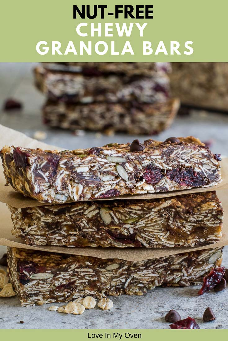 Soft and chewy nut-free granola bars that are safe to take to school, free of refined sugars and ACTUALLY delicious! They\'re also no bake and totally customizable.