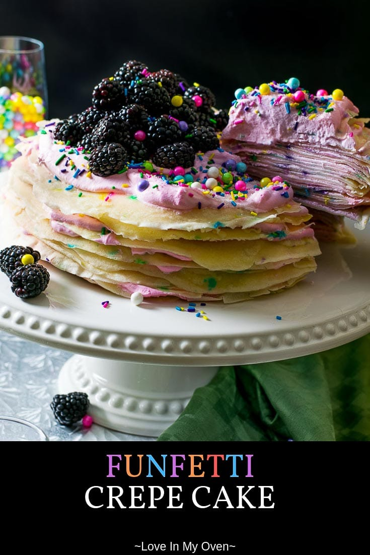 This deliciously easy funfetti crepe cake is sprinkles of fun! Simple to put together and perfect for any celebration. The layers will wow your guests! #celebrate #funfetti #crepecake #easyrecipe #easydessert #funfood