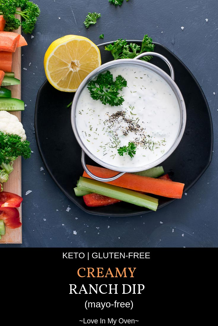 You\'ll never buy dip from the store again once you make this easy, homemade, mayo-free version! Give it a try and you might just be shocked to see how many veggies get eaten with this dip around!#ketorecipes #homemade #ranchdip #ranchdressing #eatingketo #keto #snacks #eatyourveggies