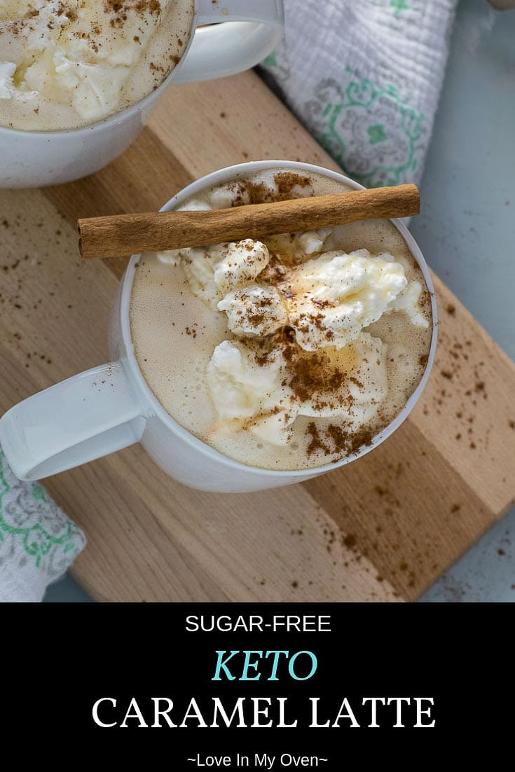 A rich and foamy, completely sugar-free caramel latte that you can make at home in no time, for a fraction of what your local coffee shop will charge! #ketolatte #ketorecipes #keto #lowcarb #lowcarbdesserts #easyrecipe #latte #homemadelatte