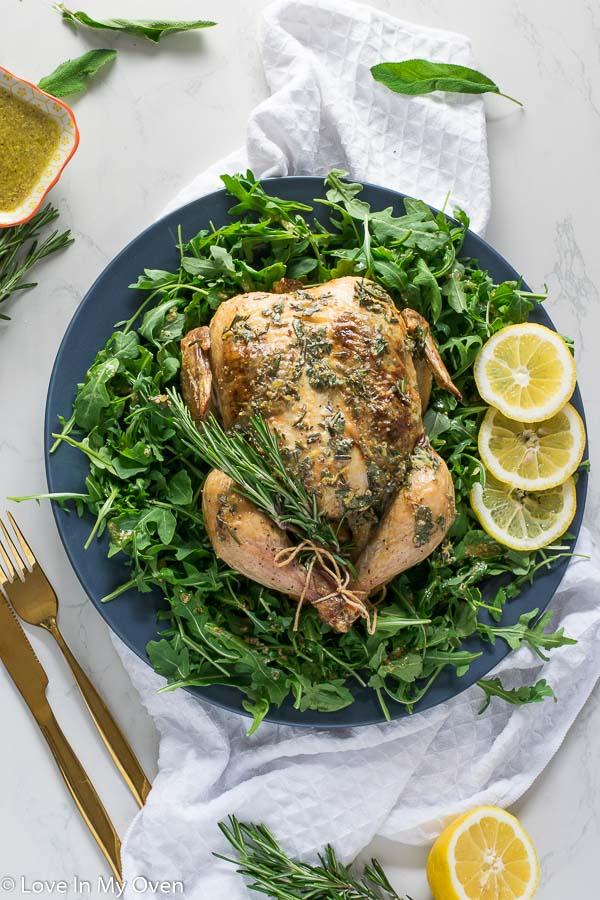 Roast Chicken with Dijon Herb Butter