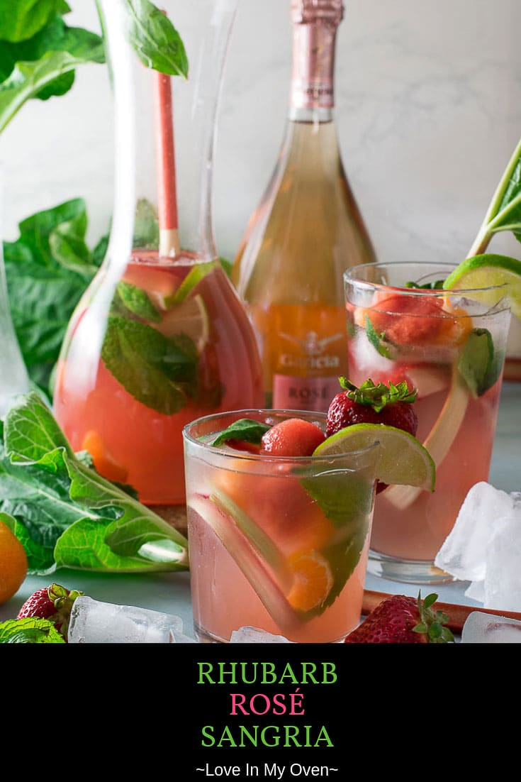 This rhubarb rosé sangria is an easy summer sangria for a crowd, or just for you and your sweetheart! A rhubarb simple syrup recipe combined with fresh summer fruit and crisp rosé creates the ultimate summer cocktail! // rhubarb rosé sangria // recipes with rosé wine // rosé cocktail // simple rhubarb recipes