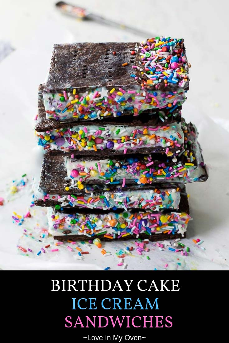 Take one bite and you\'ll agree, these are the BEST ice cream sandwiches! Serve these birthday cake ice cream sandwiches at your next birthday party and you\'ll be the coolest parent on the block! // chocolate ice cream sandwich // cake flavored ice cream // funfetti ice cream sandwiches