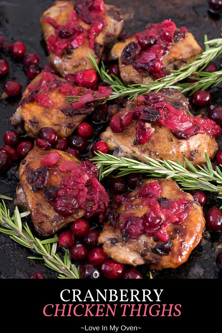 Cranberry chicken thighs with a simple cranberry glaze for a pop of flavour. This holiday chicken recipe is a great way to use those fresh cranberries that are in season! // chicken recipes for the holidays // roasted cranberry chicken // one pan chicken thigh recipes