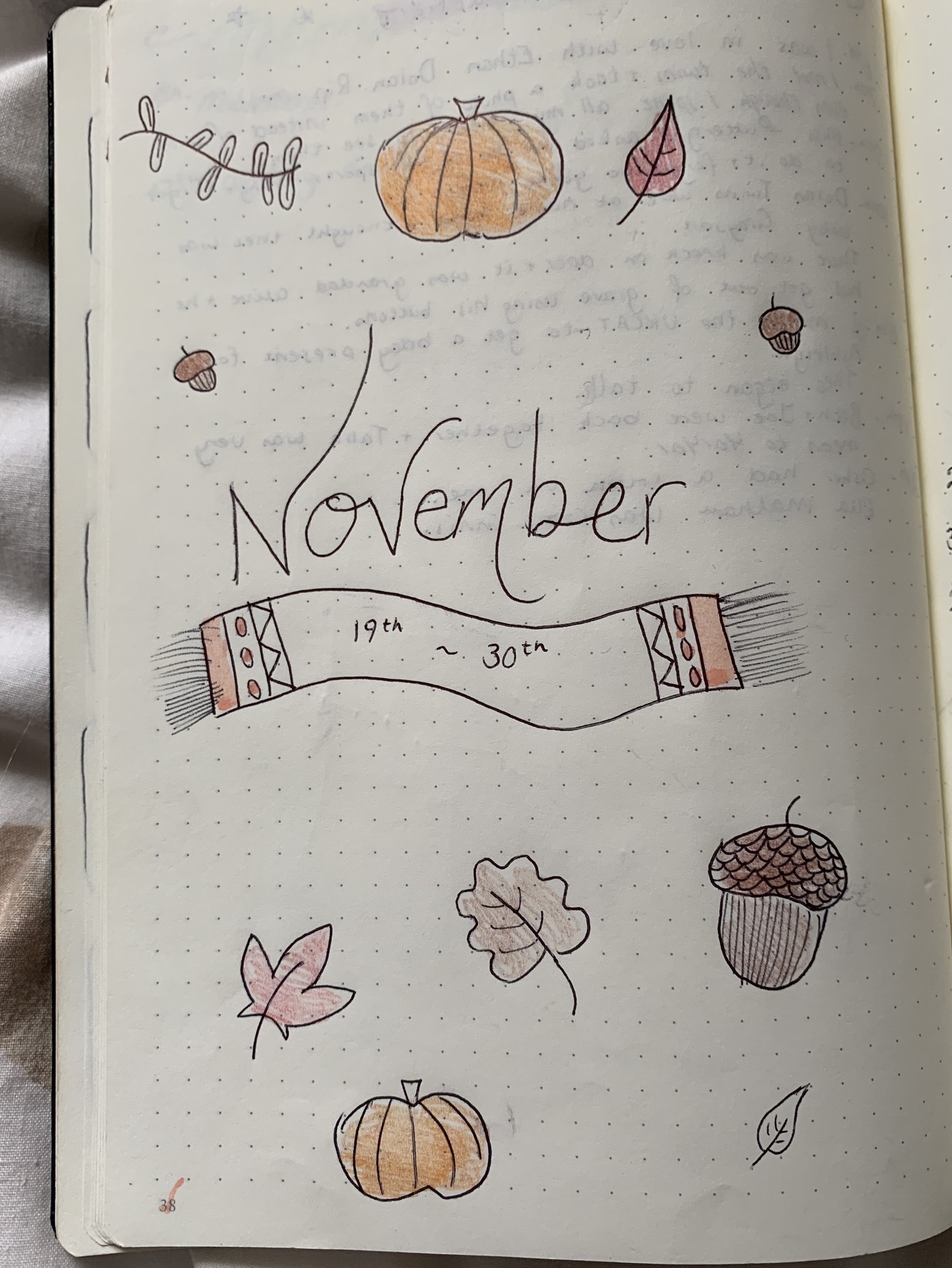 November bullet journal monthly cover page to provide inspiration for when starting a bullet journal
