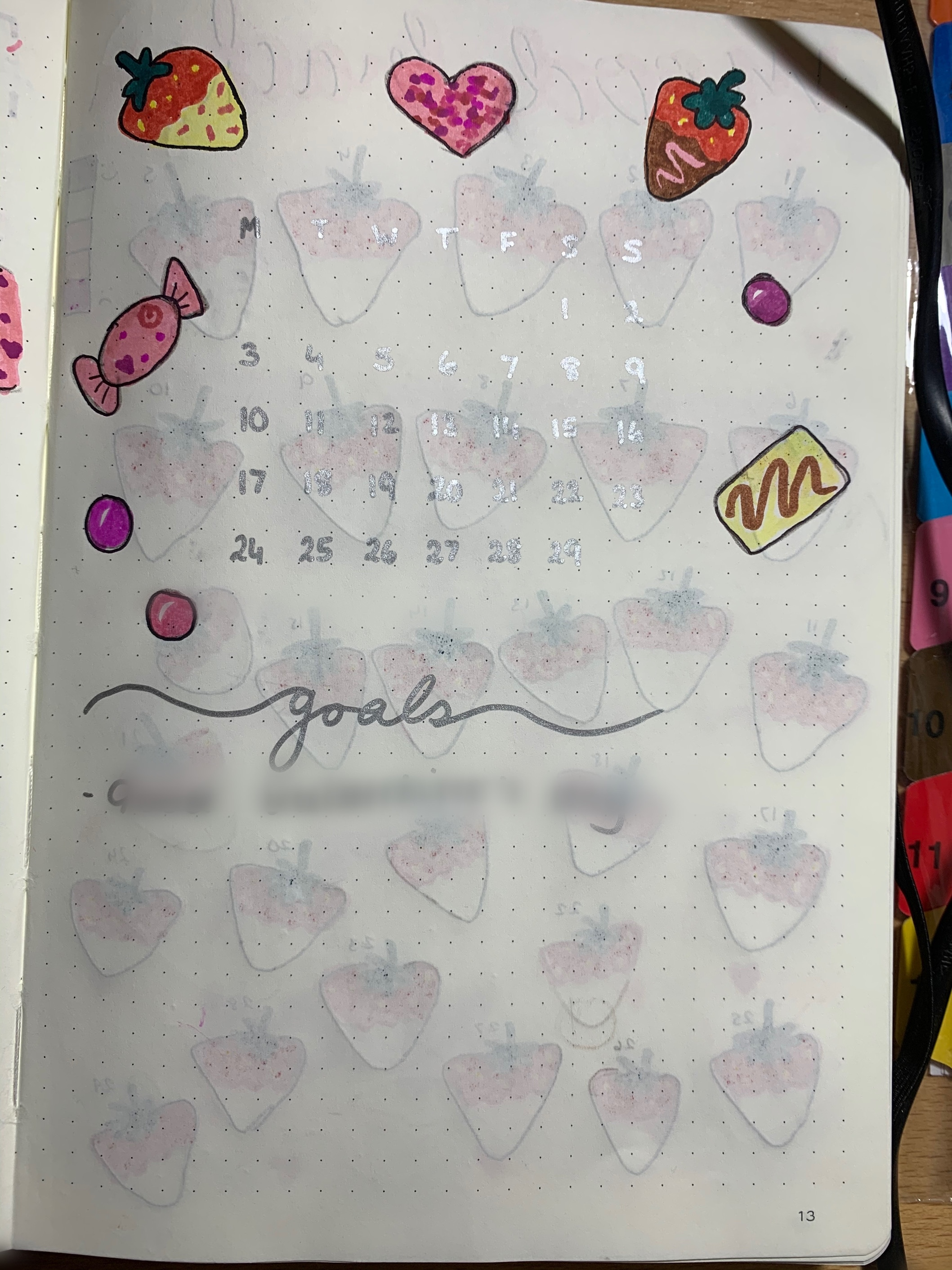 Silver February bullet journal calendar, decorated with chocolate strawberries