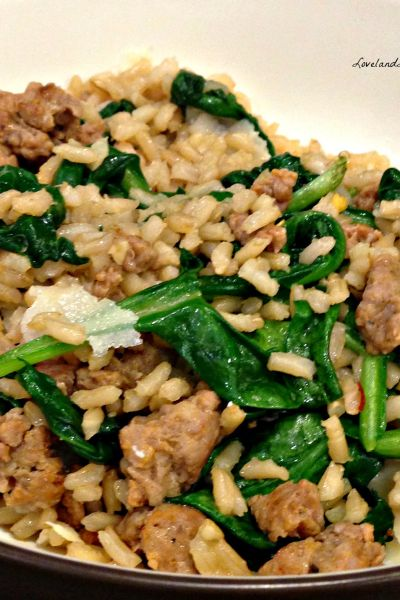 Quick Weeknight Meal: Sausage & Spinach Rice Bowl