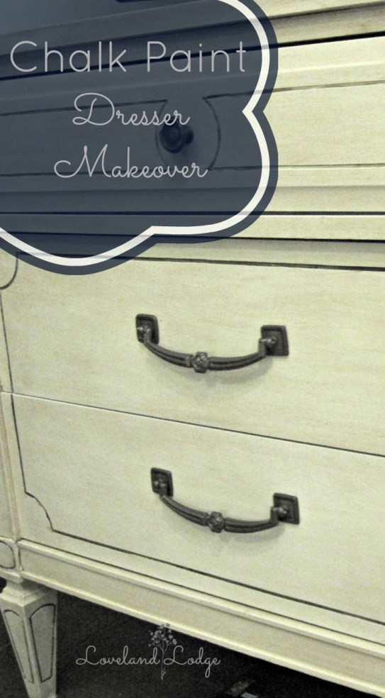 Making over an old dresser using Valspar Chalk Paint in Kid Gloves