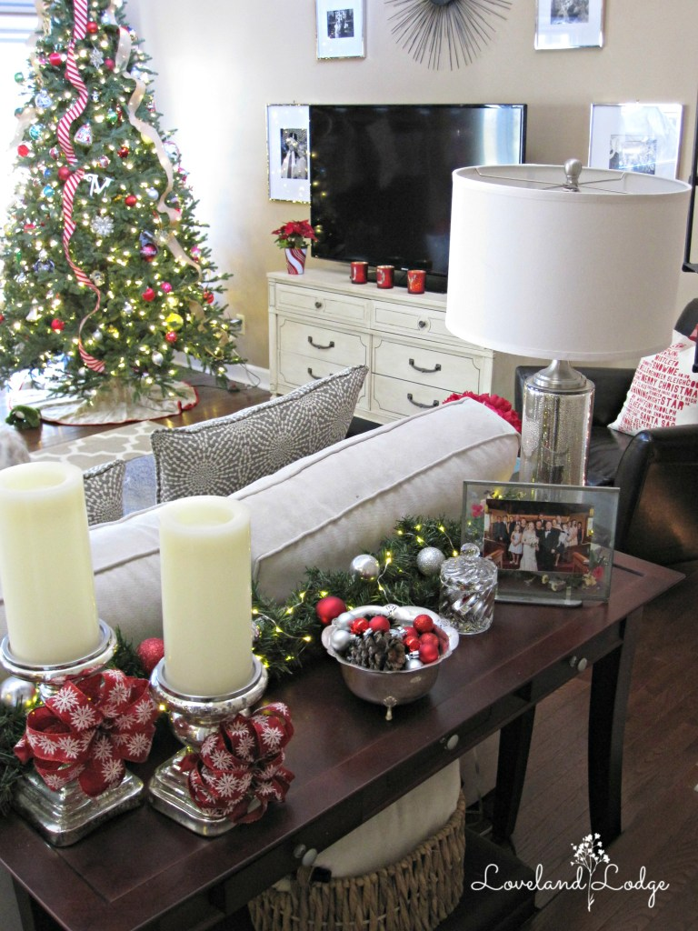 The sofa table with holiday decor