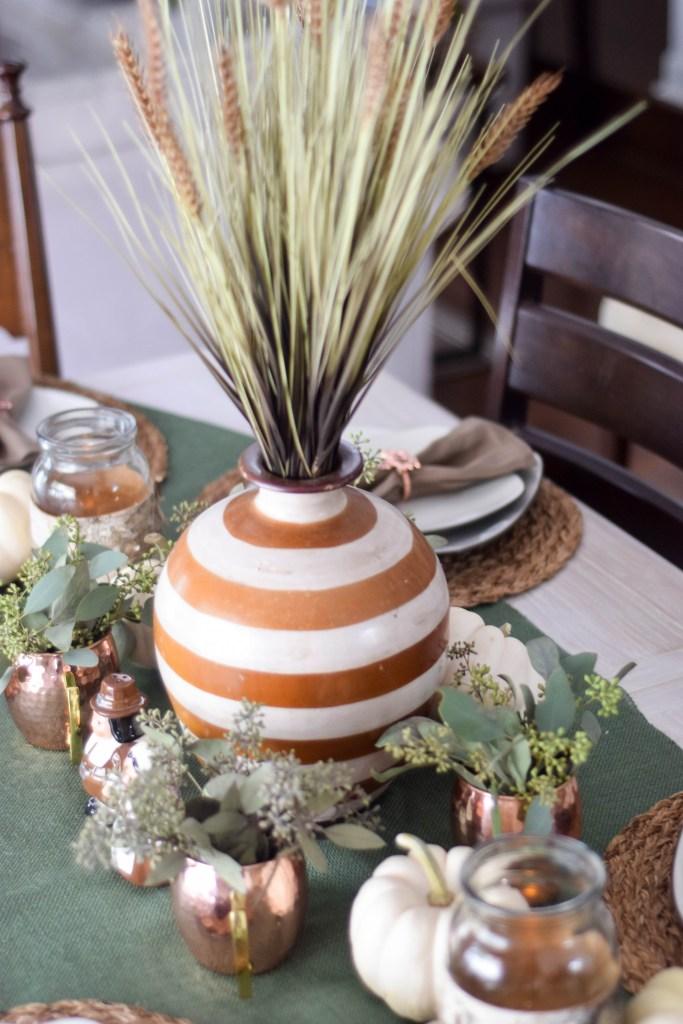 Modern Rustic Thanksgiving Tablescape with copper, burlap and stripes